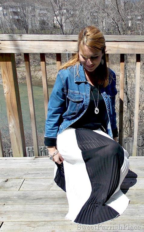 black and white striped maxi skirt, black shirt, Denim jacket, zebra flats4
