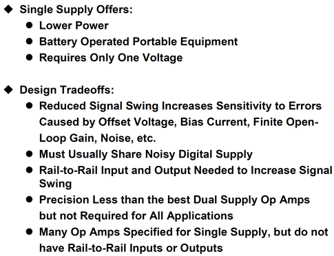Single-supply op amp design issues