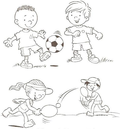Imágenes de niños haciendo ejercicios para colorear - Imagui