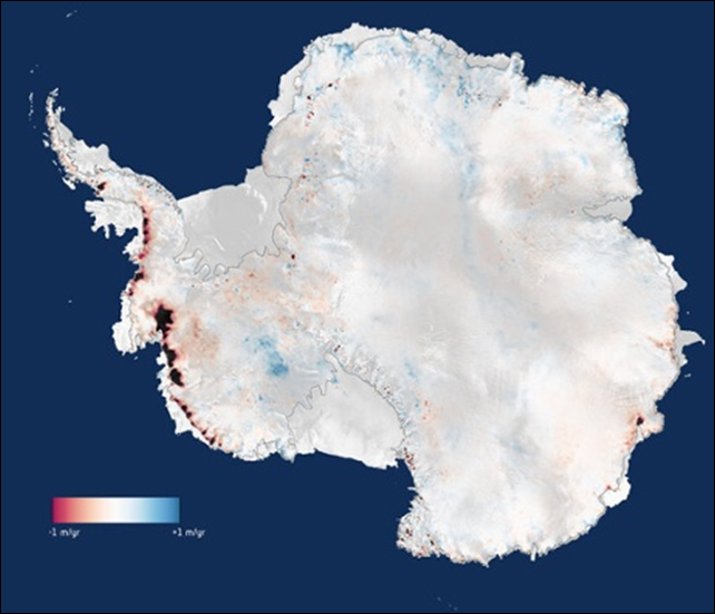 Change in height of the Antarctic Ice Sheet, 2010-2013, relative to 2005-2010. Three years of measurements from CryoSat show that the Antarctic Ice Sheet is now losing 159 billion tonnes of ice each year, enough to raise global sea levels by 0.45 mm per year. Graphic: CPOM / Leeds / ESA