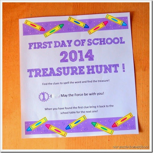 Our Aussie Homeschool~First Day of School Treasure Hunt