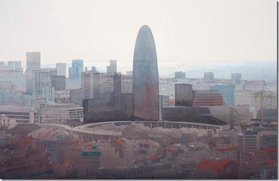 9 Barcelona . panorama sobre la torre agbar 66 x 96 cm