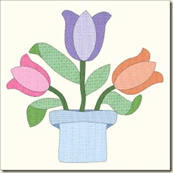 Tulip in blue vase 1