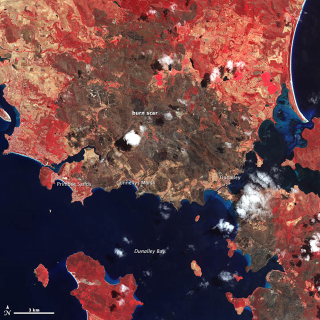 In January 2013, intense bushfires blazed in Tasmania, an island south of Australia. One of the hardest hit towns was Dunalley, a fishing village on the eastern coast. A blaze destroyed at least 80 homes—about 30 percent of the town— when it tore through the area on 4 January 2013. NASA's Terra satellite captured this false-color image of the charred landscape on January 14. Graphic: NASA Earth Observatory image by Jesse Allen and Robert Simmon
