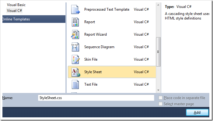 Add a Style Sheet file to the folder.