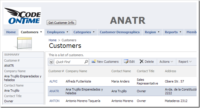 The header label is dynamically updated with the selected CustomerID.