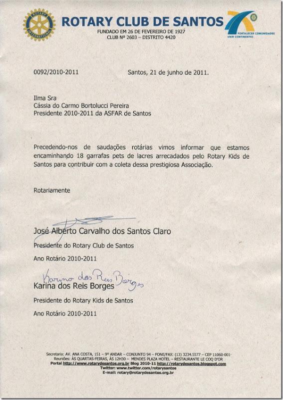 Rotary Kids doa lacres para a ASFAR Santos