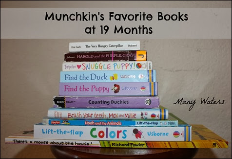 Many Waters Munchkin's Favorite Books at 19 months