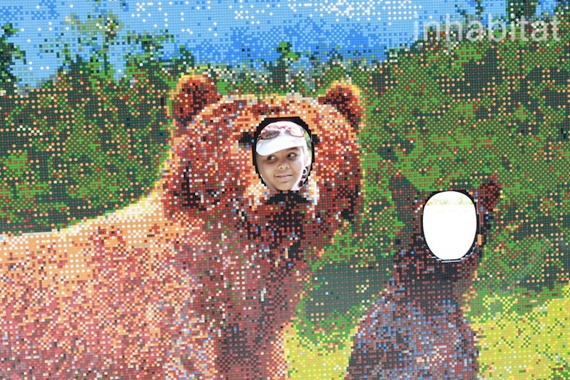 You can place yourself in the LEGO displays with several fun photo opps like this bear face installation.