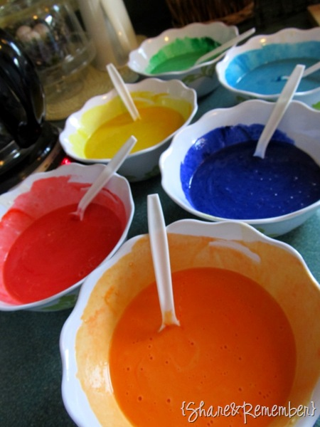 Make colorful pancake batter to make Rainbow Waffles with food coloring
