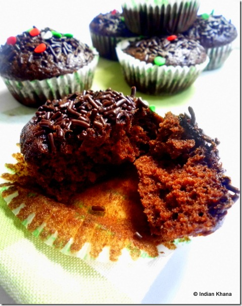 Eggless butterless chocolate cupcake recipe