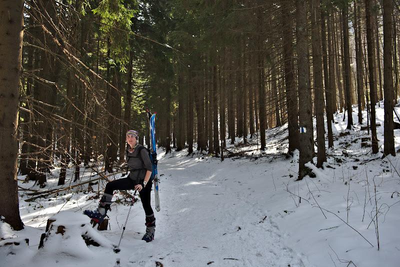 Urcand cu schiurile spre Malaiesti.