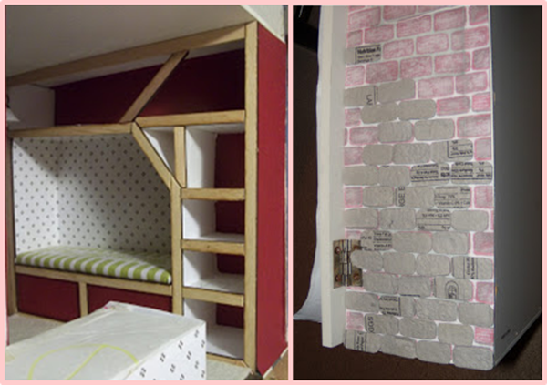 Lyssa's dollhouse book nook and Kyle's egg carton stone wall