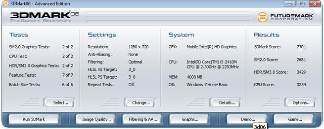 DELL Inspiron N4110 3dmark06 benchmark
