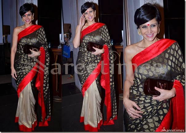 Mandira_Bedi_Black_Cream_Half_and_Half_Saree