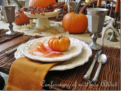 CONFESSIONS OF A PLATE ADDICT Pumpkins and Pewter 10 & CONFESSIONS OF A PLATE ADDICT: My Rustic Thanksgiving Tablescape ...