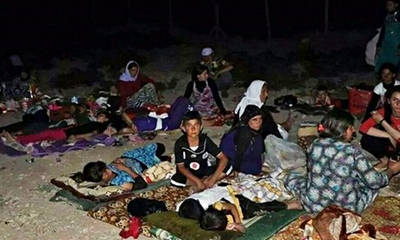 yazidi on a mountain in iraq