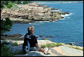 02c2 - hiking Ocean Path - Syl enjoying the views