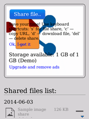 Поделись файлом с другом! для BlackBerry ОС 5-7 — скриншот