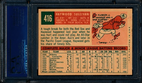 1959 Topps 416A Haywood Sullivan no circle no period back