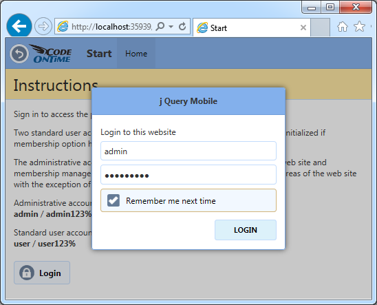 Logging into a Touch UI app created with Code On Time.