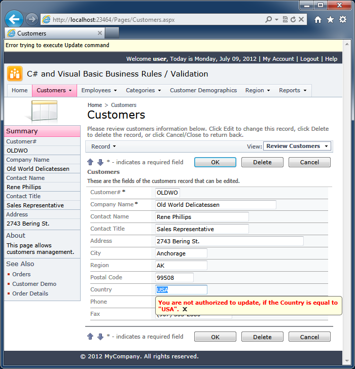 Validation with C# / Visual Basic Business Rules in a web app created with Code On Time web application generator