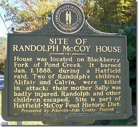 Site of Randolph McCoy House marker 2062 near Hardy, KY in Pike County