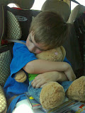 Fast asleep in the car... So big, but so little.