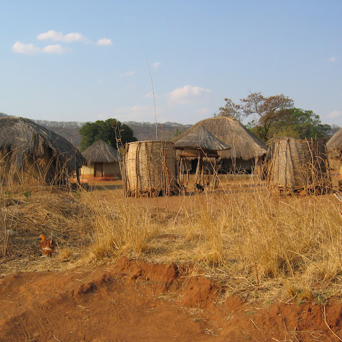 A typical, small rural village, showing various houses, granaries and stores.