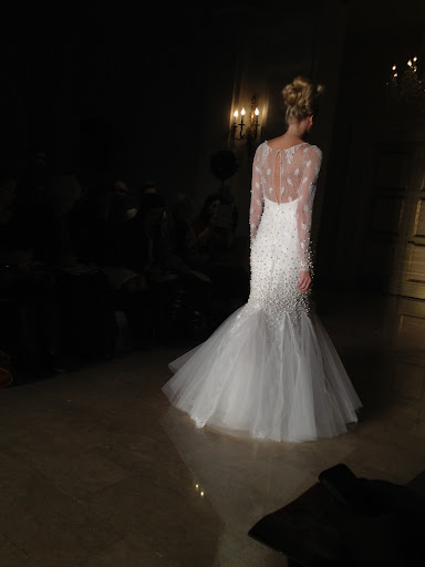 The back of this trumpet dress is super glam. Imagine what an amazing exit it would make.