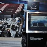 bmw 6-cylinder diesel with twinpower turbo engine at bmw welt in Munich, Bayern, Germany