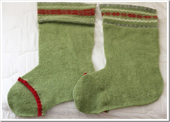 stocking made from green wool sweater