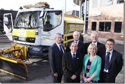 back l-r Cllr. Rod Menlove, David Lee Chairman of Ringway Jacobs,Cllr. Wesley Fitzgerald and Kevin Melling  of CEC. Front l-r John Nicholson and Erika Wenzel