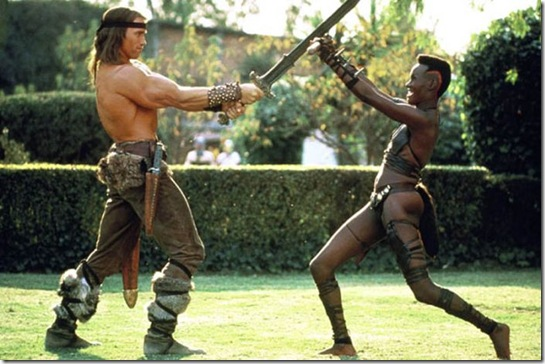 ARNOLD SCHWARZENEGGER & GRACE JONES