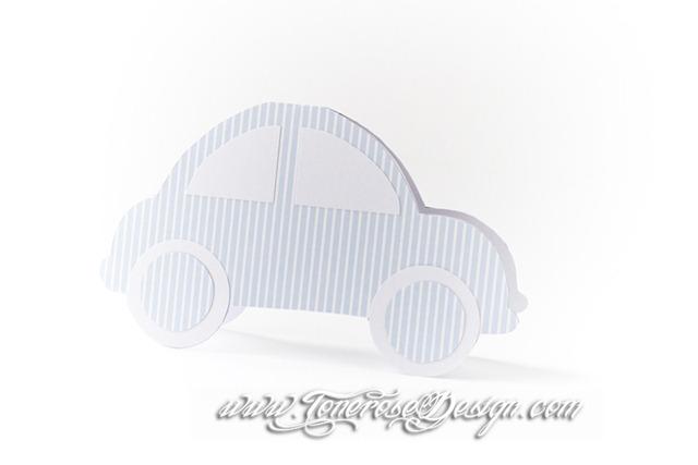 Bilkort til barnedåp - DIY - invitasjon, bordkort, takkekort