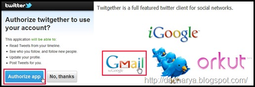 Twitter Authorization in Gmail