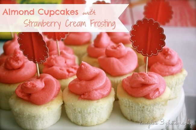 Almond Cupcakes with Strawberry Cream Frosting
