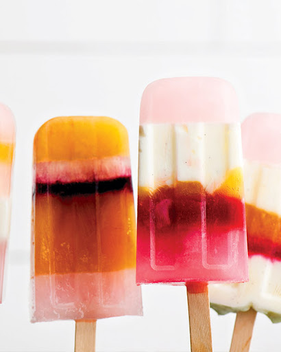 The striped palette on these delicious ice pops is gorgeous.  (marthastewart.com/349919/striped-ice-pops)