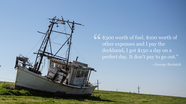An abandoned fishing trawler aground on the grass in Louisiana. The fishing and shellfish industries in Louisiana have collapsed after the BP Deepwater Horizon oil spill. Photo: CNN