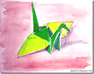 Watercolor Origami Paper Crane