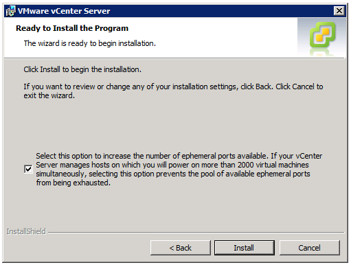 VMware vCenter Server Installer - Ready to Install the Program