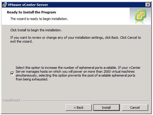 VMware vCenter Server Installer - Ready to Install the Program