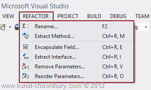Refactor Menu in Visual Studio 2012