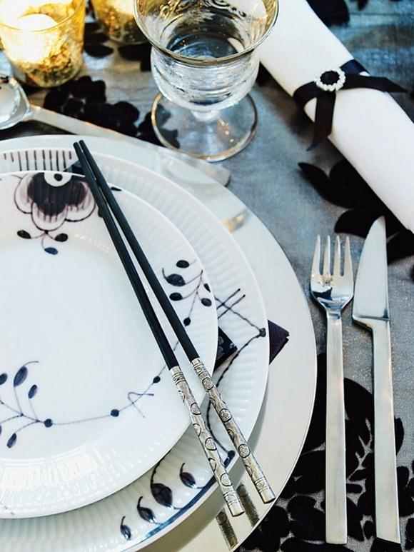 decoración en tono blanco y negro para Navidad
