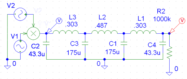 Schematic diagram of Low pass filter circuit