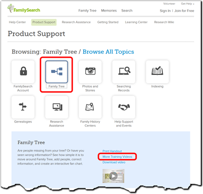 FamilySearch.org Product Support page