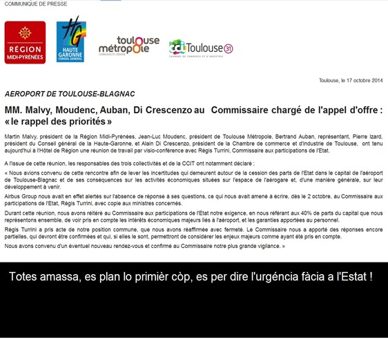 comunicat fàcia a l'Estat francés subjecte aeropòrt de Tolosa-Blanhac