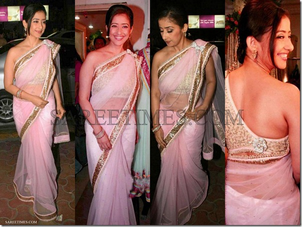 Manisha_Koirala_Pink_Net_Saree