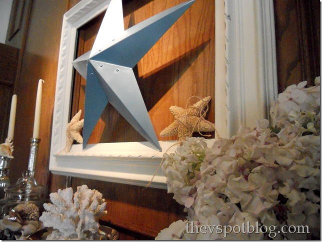 turquoise, white, blue, summer, frame, mantel, starfish