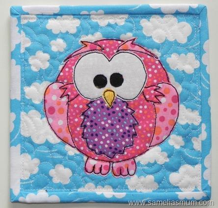 Pink Owl Mug Rug 2